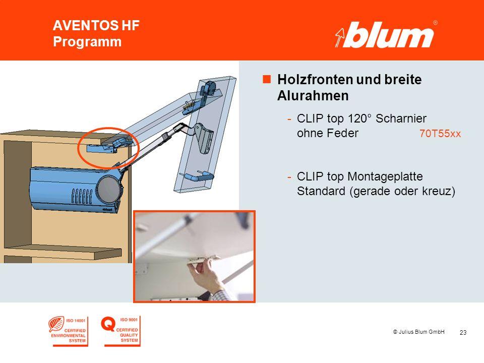 23 © Julius Blum GmbH AVENTOS HF Programm nHolzfronten und breite Alurahmen -CLIP top 120° Scharnier ohne Feder 70T55xx -CLIP top Montageplatte Standa