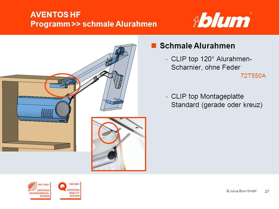 27 © Julius Blum GmbH AVENTOS HF Programm >> schmale Alurahmen nSchmale Alurahmen -CLIP top 120° Alurahmen- Scharnier, ohne Feder 72T550A -CLIP top Mo
