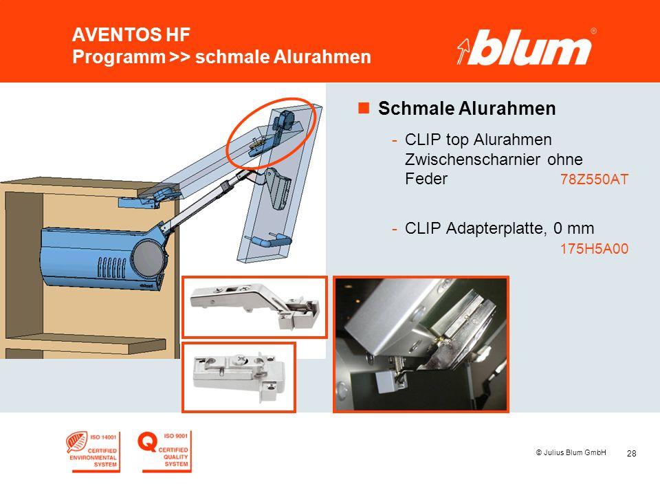 28 © Julius Blum GmbH AVENTOS HF Programm >> schmale Alurahmen nSchmale Alurahmen -CLIP top Alurahmen Zwischenscharnier ohne Feder 78Z550AT -CLIP Adap