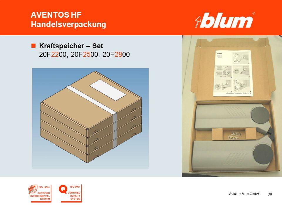 30 © Julius Blum GmbH AVENTOS HF Handelsverpackung nKraftspeicher – Set 20F2200, 20F2500, 20F2800