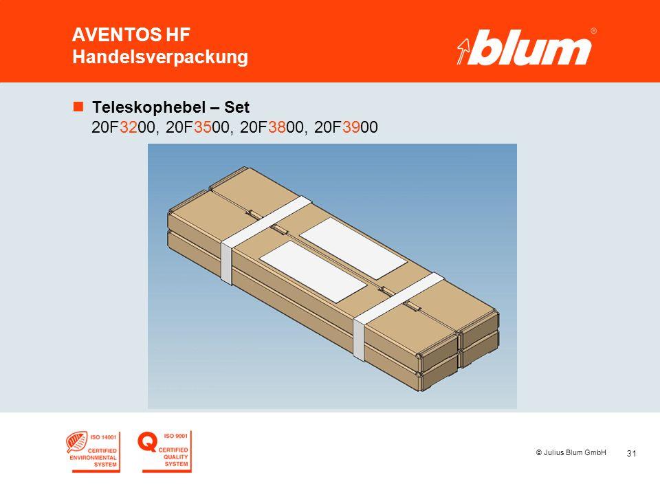 31 © Julius Blum GmbH AVENTOS HF Handelsverpackung nTeleskophebel – Set 20F3200, 20F3500, 20F3800, 20F3900