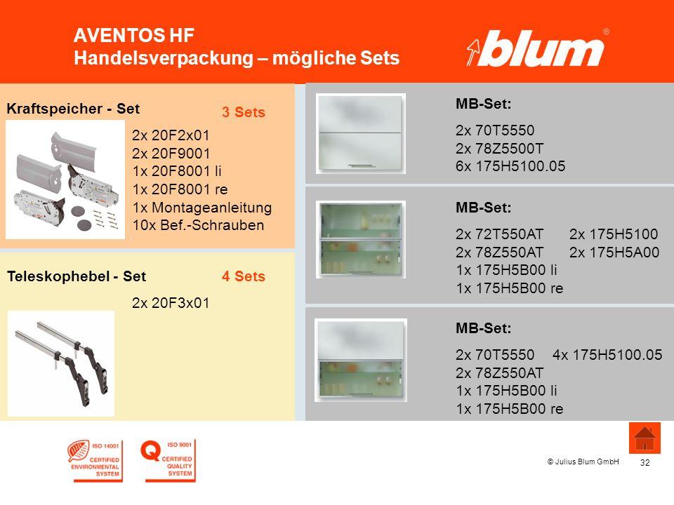 32 © Julius Blum GmbH AVENTOS HF Handelsverpackung – mögliche Sets MB-Set: 2x 70T5550 2x 78Z5500T 6x 175H5100.05 MB-Set: 2x 70T5550 4x 175H5100.05 2x