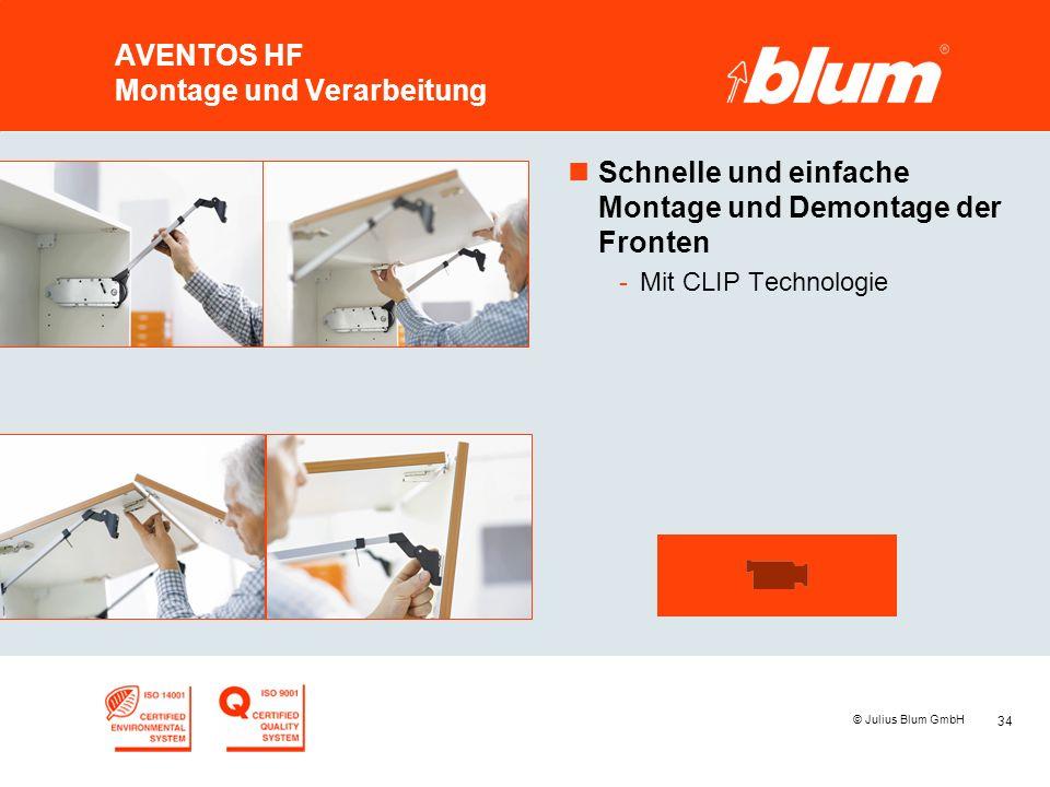 34 © Julius Blum GmbH AVENTOS HF Montage und Verarbeitung nSchnelle und einfache Montage und Demontage der Fronten -Mit CLIP Technologie
