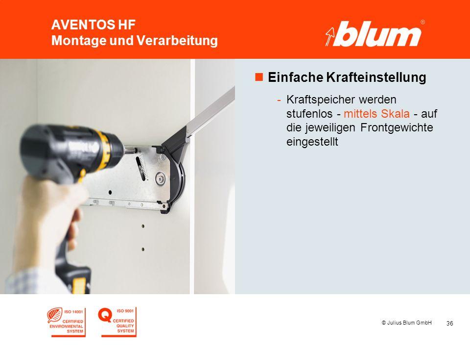 36 © Julius Blum GmbH AVENTOS HF Montage und Verarbeitung nEinfache Krafteinstellung -Kraftspeicher werden stufenlos - mittels Skala - auf die jeweili