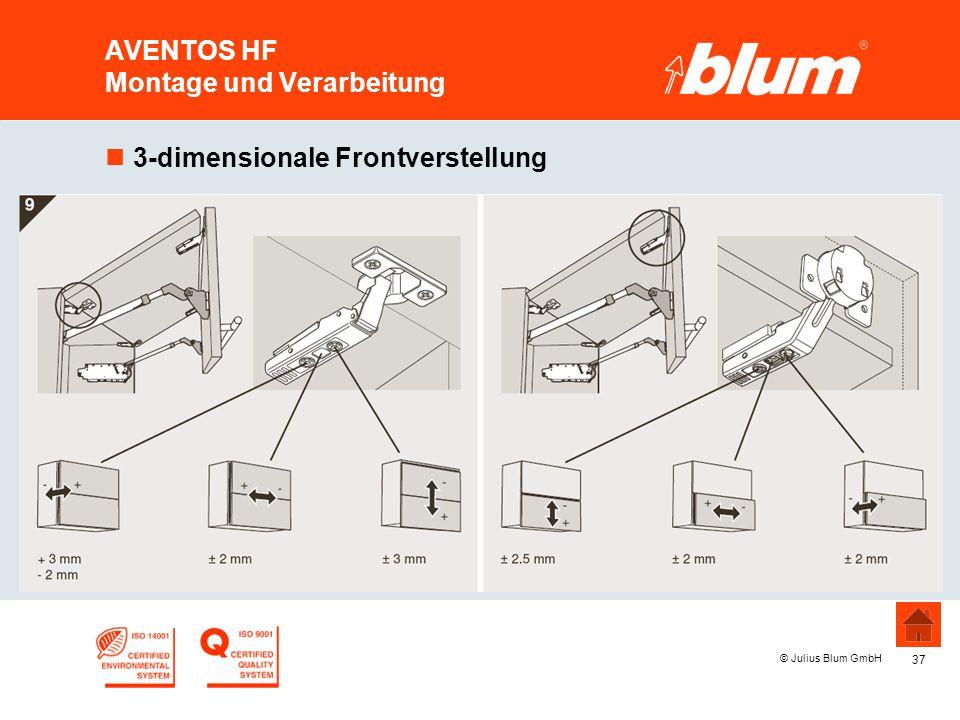 37 © Julius Blum GmbH AVENTOS HF Montage und Verarbeitung n3-dimensionale Frontverstellung