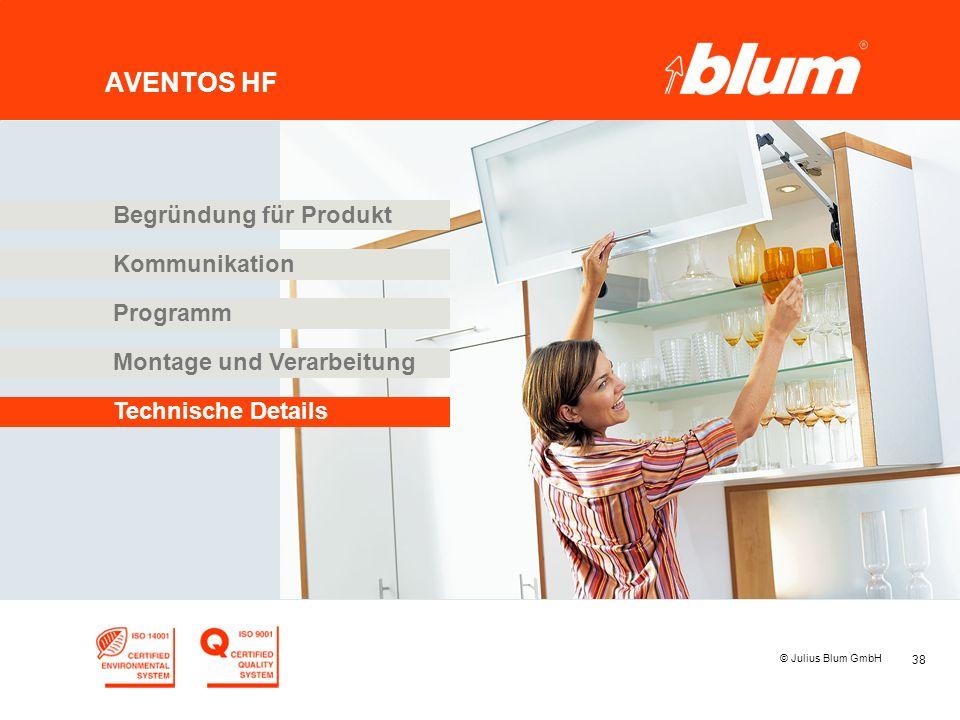 38 © Julius Blum GmbH AVENTOS HF Programm Kommunikation Begründung für Produkt Montage und Verarbeitung Technische Details