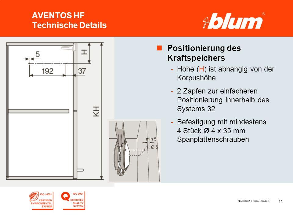 41 © Julius Blum GmbH AVENTOS HF Technische Details nPositionierung des Kraftspeichers -Höhe (H) ist abhängig von der Korpushöhe -2 Zapfen zur einfach