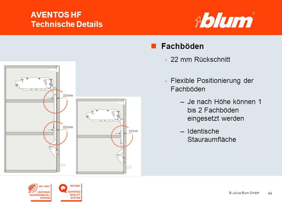 44 © Julius Blum GmbH AVENTOS HF Technische Details nFachböden -22 mm Rückschnitt -Flexible Positionierung der Fachböden –Je nach Höhe können 1 bis 2