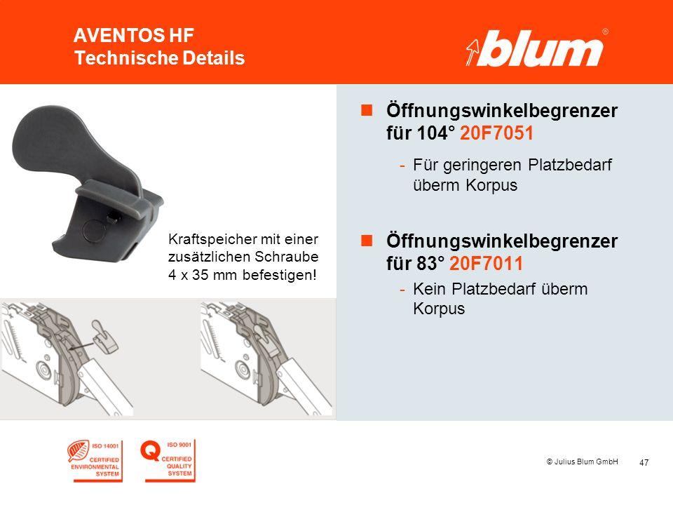 47 © Julius Blum GmbH AVENTOS HF Technische Details nÖffnungswinkelbegrenzer für 104° 20F7051 -Für geringeren Platzbedarf überm Korpus nÖffnungswinkel