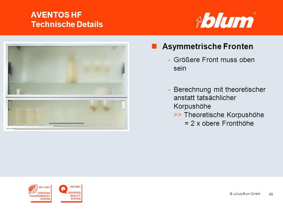49 © Julius Blum GmbH AVENTOS HF Technische Details nAsymmetrische Fronten -Größere Front muss oben sein -Berechnung mit theoretischer anstatt tatsäch