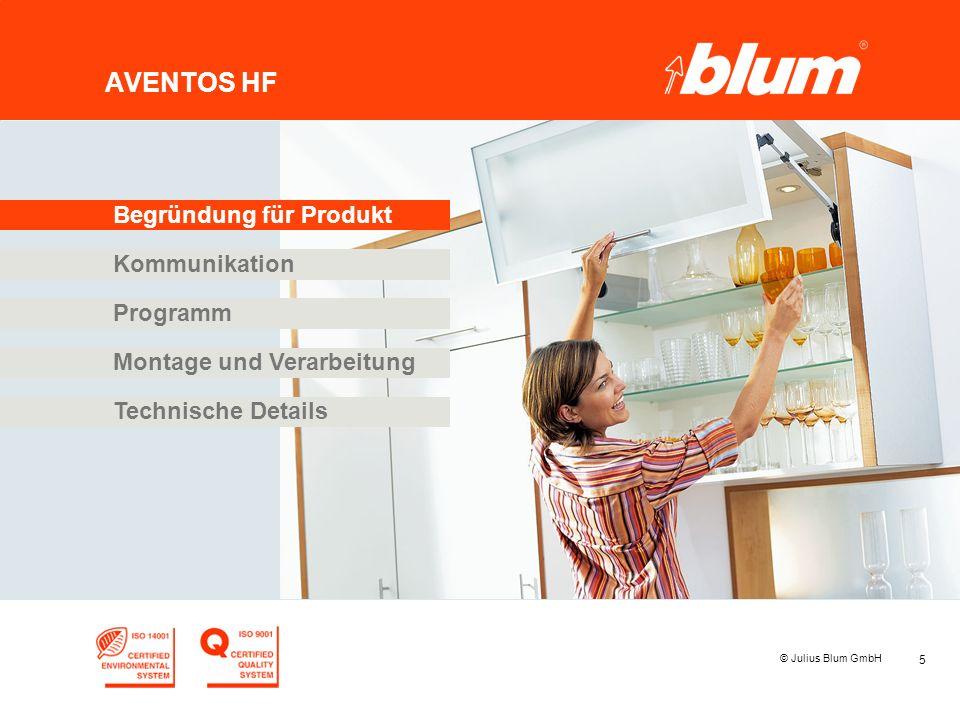 5 © Julius Blum GmbH AVENTOS HF Programm Kommunikation Begründung für Produkt Montage und Verarbeitung Technische Details