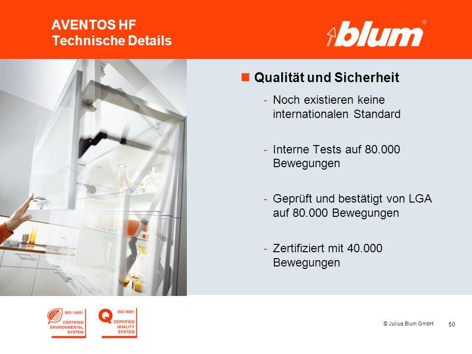 50 © Julius Blum GmbH AVENTOS HF Technische Details nQualität und Sicherheit -Noch existieren keine internationalen Standard -Interne Tests auf 80.000