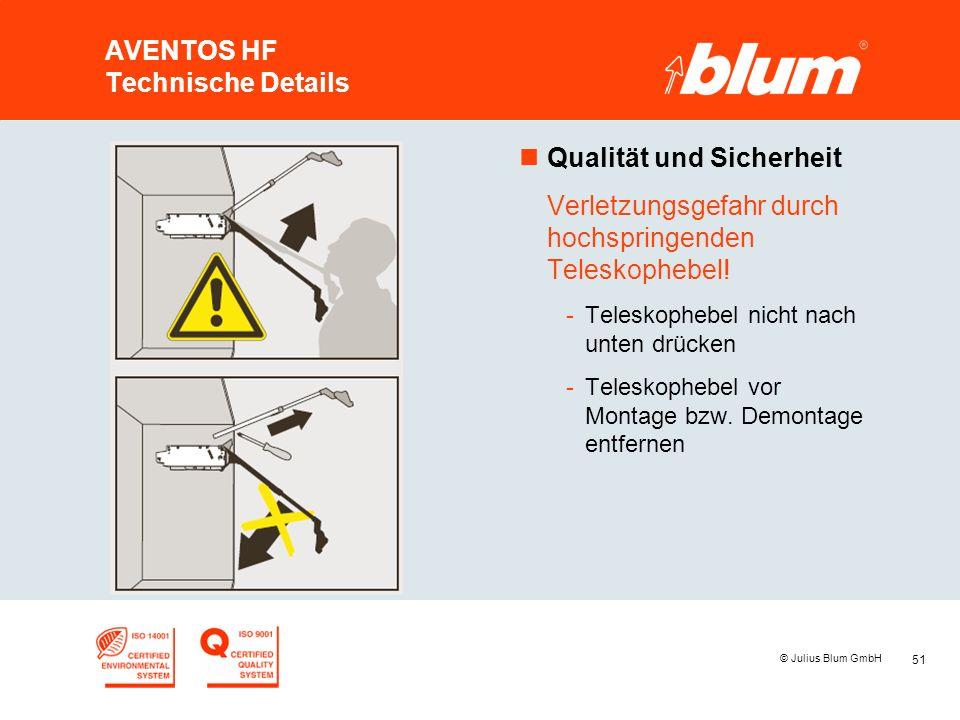 51 © Julius Blum GmbH AVENTOS HF Technische Details nQualität und Sicherheit Verletzungsgefahr durch hochspringenden Teleskophebel! -Teleskophebel nic
