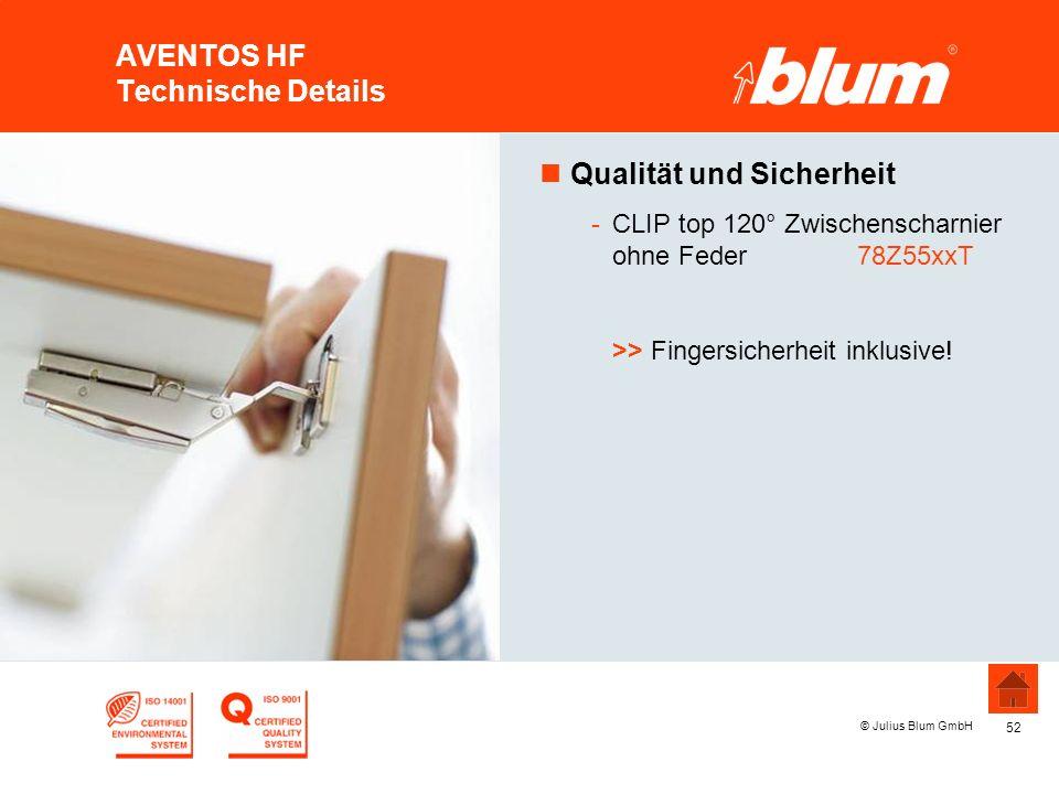 52 © Julius Blum GmbH AVENTOS HF Technische Details nQualität und Sicherheit -CLIP top 120° Zwischenscharnier ohne Feder 78Z55xxT >> Fingersicherheit