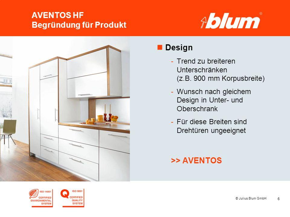 6 © Julius Blum GmbH AVENTOS HF Begründung für Produkt nDesign -Trend zu breiteren Unterschränken (z.B. 900 mm Korpusbreite) -Wunsch nach gleichem Des