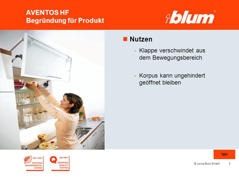 8 © Julius Blum GmbH AVENTOS HF Begründung für Produkt nEmotionen -Mit der integrierten BLUMOTION sorgt AVENTOS HF insgesamt für ein völlig neues, höchst emotionales Erlebnis beim Öffnen und Schließen