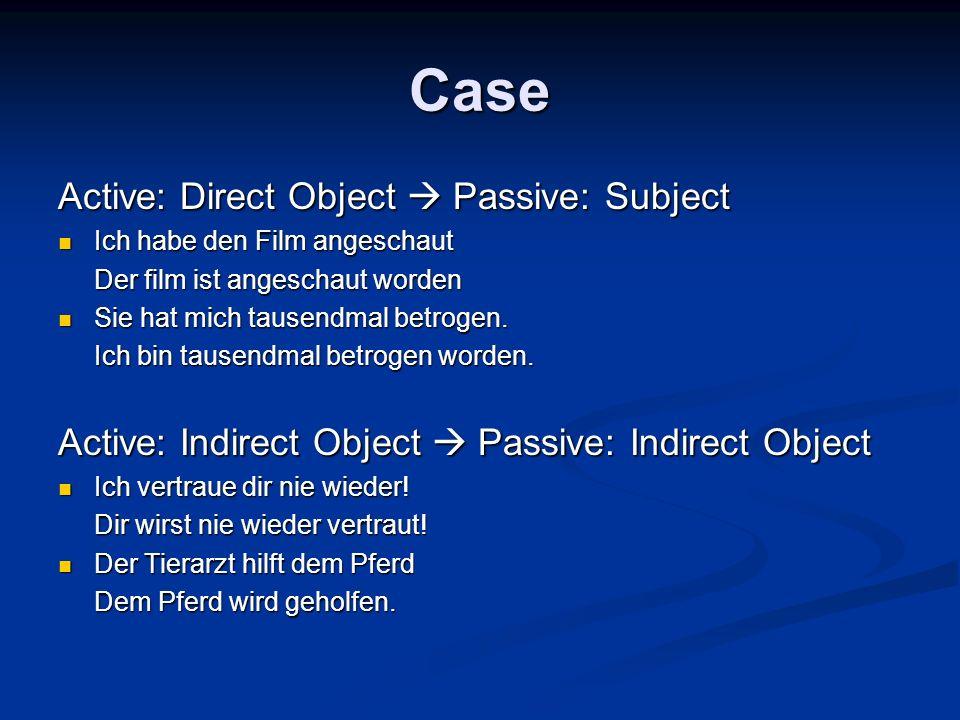 Case Active: Direct Object Passive: Subject Ich habe den Film angeschaut Ich habe den Film angeschaut Der film ist angeschaut worden Sie hat mich tausendmal betrogen.