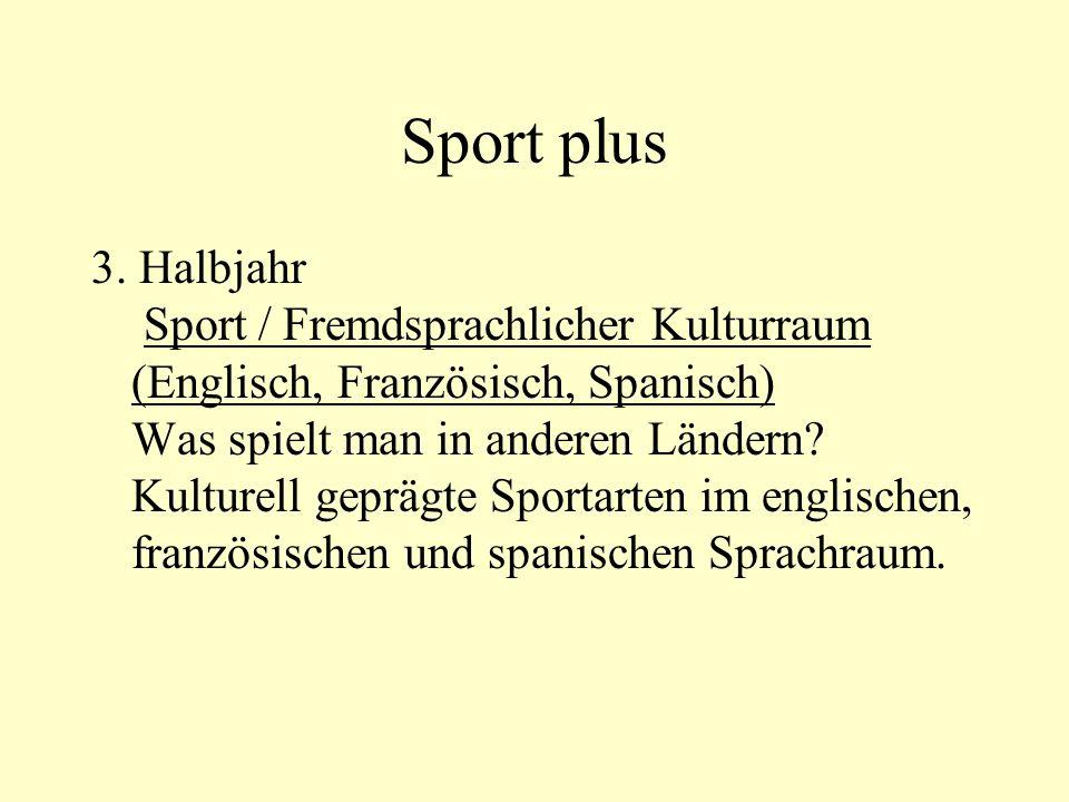 Sport plus 3. Halbjahr Sport / Fremdsprachlicher Kulturraum (Englisch, Französisch, Spanisch) Was spielt man in anderen Ländern? Kulturell geprägte Sp