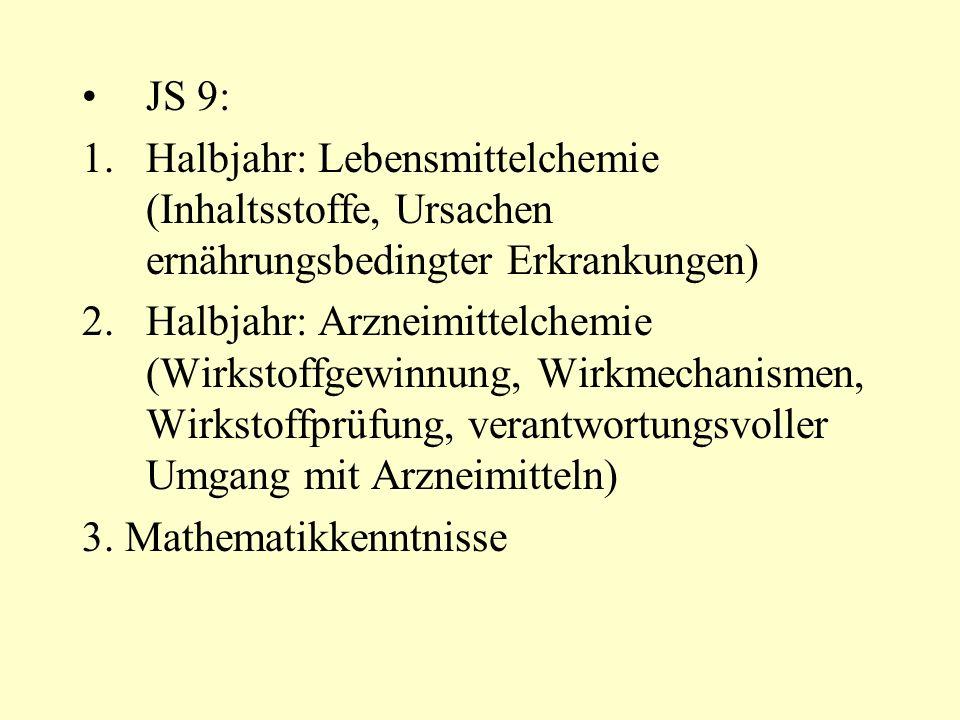 JS 9: 1.Halbjahr: Lebensmittelchemie (Inhaltsstoffe, Ursachen ernährungsbedingter Erkrankungen) 2.Halbjahr: Arzneimittelchemie (Wirkstoffgewinnung, Wi