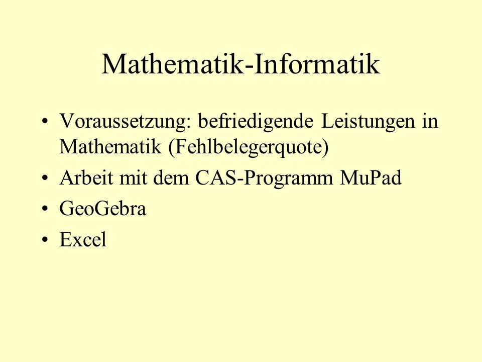 Mathematik-Informatik Voraussetzung: befriedigende Leistungen in Mathematik (Fehlbelegerquote) Arbeit mit dem CAS-Programm MuPad GeoGebra Excel