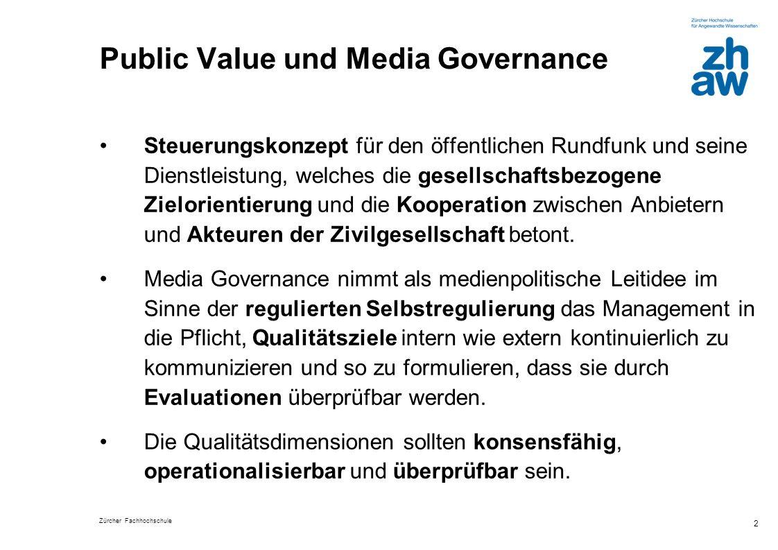 Zürcher Fachhochschule 3 Leistung des Public Value-Konzepts Schafft die Grundlage für einen gesellschaftlichen Diskurs, im Zuge dessen stets von neuem ausgehandelt wird, welche Funktionen das Bayerische Fernsehen erfüllen will und an denen es sich bei seinen Angeboten orientieren soll.