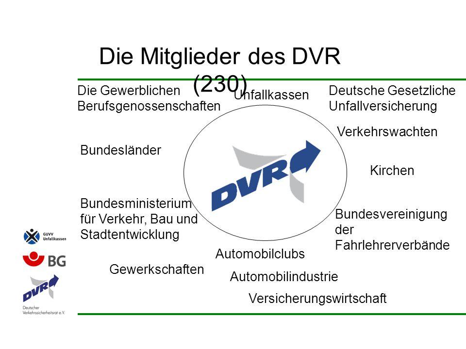 Die Mitglieder des DVR (230) Die Gewerblichen Berufsgenossenschaften Deutsche Gesetzliche Unfallversicherung Verkehrswachten Bundesvereinigung der Fah