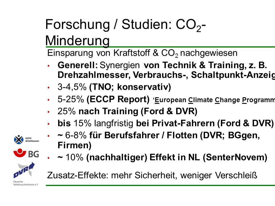 Einsparung von Kraftstoff & CO 2 nachgewiesen Generell: Synergien von Technik & Training, z. B. Drehzahlmesser, Verbrauchs-, Schaltpunkt-Anzeige 3-4,5