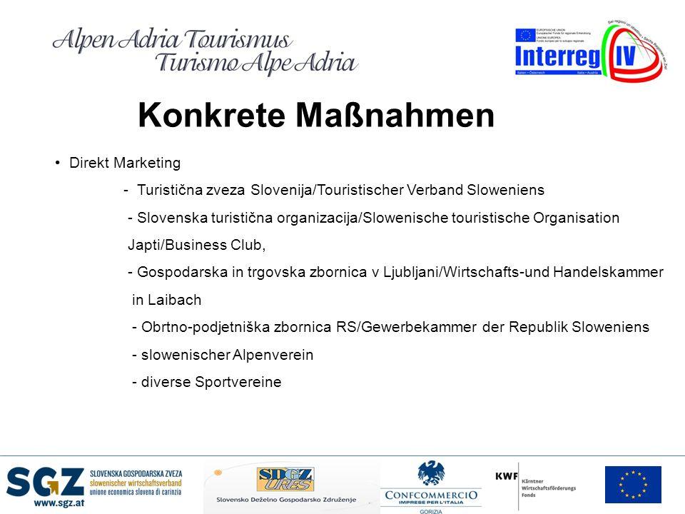 Konkrete Maßnahmen Direkt Marketing - Turistična zveza Slovenija/Touristischer Verband Sloweniens - Slovenska turistična organizacija/Slowenische tour