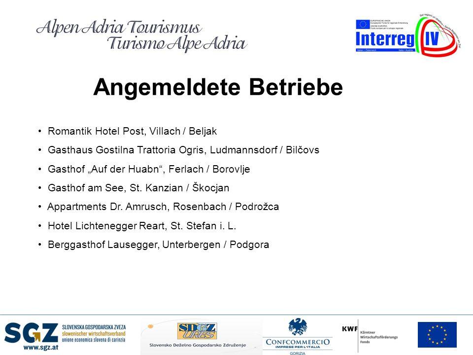 Angemeldete Betriebe Romantik Hotel Post, Villach / Beljak Gasthaus Gostilna Trattoria Ogris, Ludmannsdorf / Bilčovs Gasthof Auf der Huabn, Ferlach /