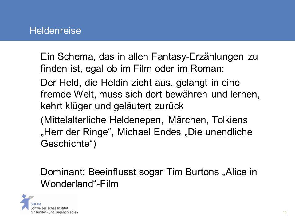 11 Heldenreise Ein Schema, das in allen Fantasy-Erzählungen zu finden ist, egal ob im Film oder im Roman: Der Held, die Heldin zieht aus, gelangt in eine fremde Welt, muss sich dort bewähren und lernen, kehrt klüger und geläutert zurück (Mittelalterliche Heldenepen, Märchen, Tolkiens Herr der Ringe, Michael Endes Die unendliche Geschichte) Dominant: Beeinflusst sogar Tim Burtons Alice in Wonderland-Film