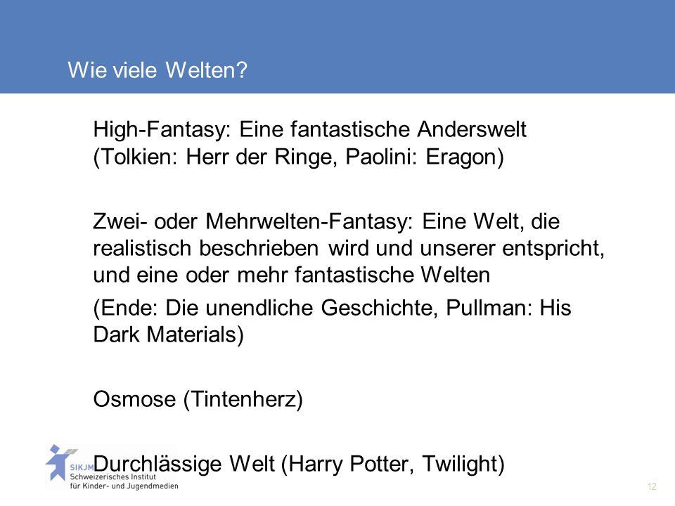 12 Wie viele Welten? High-Fantasy: Eine fantastische Anderswelt (Tolkien: Herr der Ringe, Paolini: Eragon) Zwei- oder Mehrwelten-Fantasy: Eine Welt, d