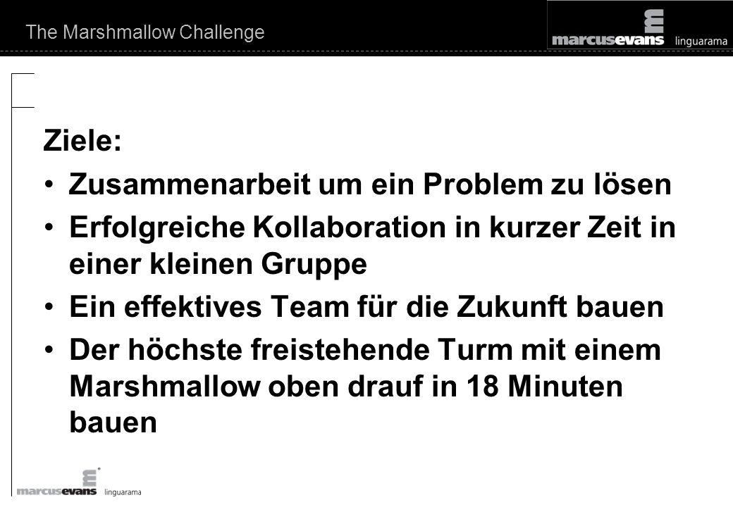 The Marshmallow Challenge Ziele: Zusammenarbeit um ein Problem zu lösen Erfolgreiche Kollaboration in kurzer Zeit in einer kleinen Gruppe Ein effektives Team für die Zukunft bauen Der höchste freistehende Turm mit einem Marshmallow oben drauf in 18 Minuten bauen