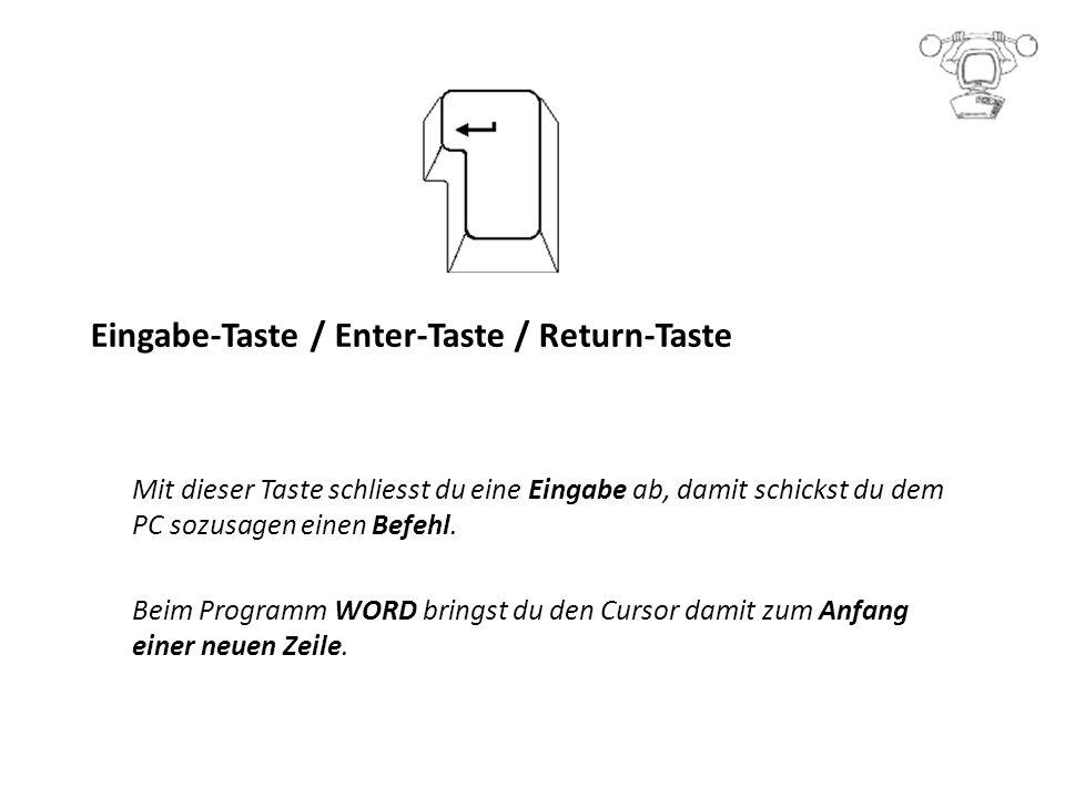 Eingabe-Taste / Enter-Taste / Return-Taste Mit dieser Taste schliesst du eine Eingabe ab, damit schickst du dem PC sozusagen einen Befehl.