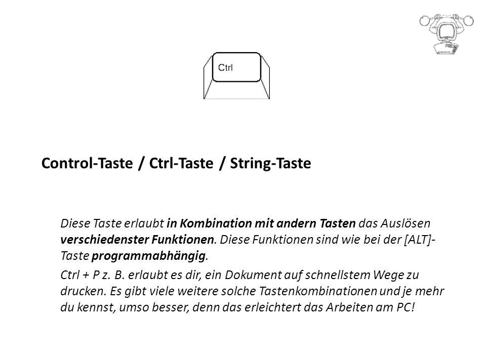 Control-Taste / Ctrl-Taste / String-Taste Diese Taste erlaubt in Kombination mit andern Tasten das Auslösen verschiedenster Funktionen.