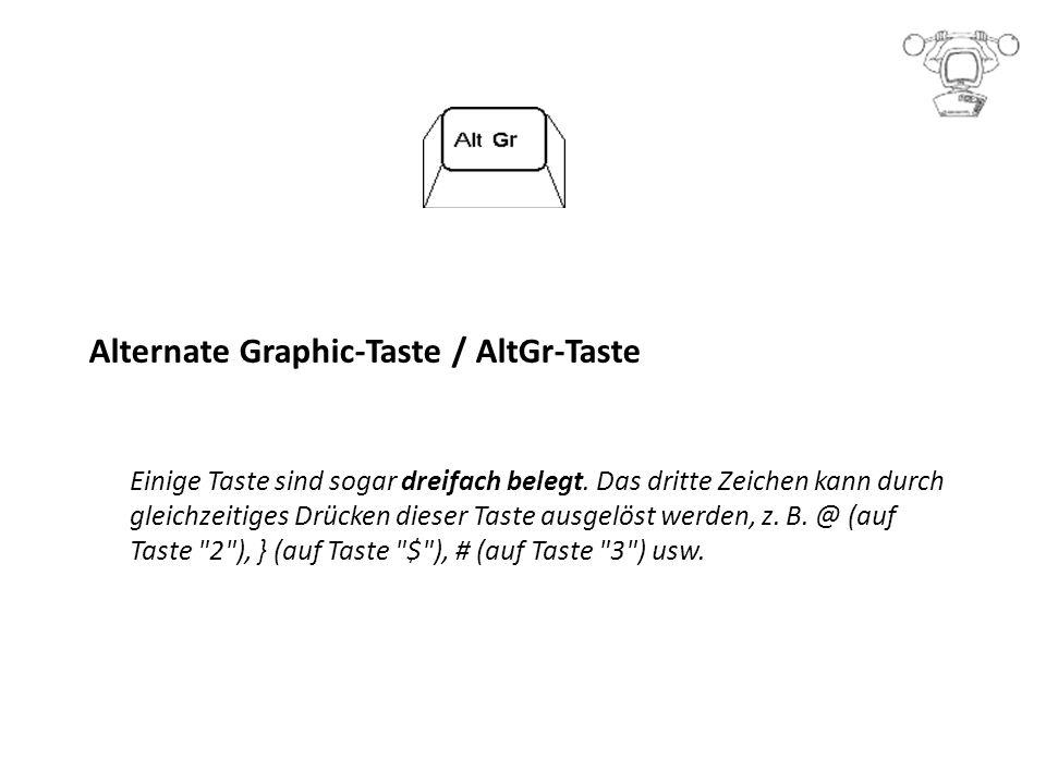 Alternate Graphic-Taste / AltGr-Taste Einige Taste sind sogar dreifach belegt.