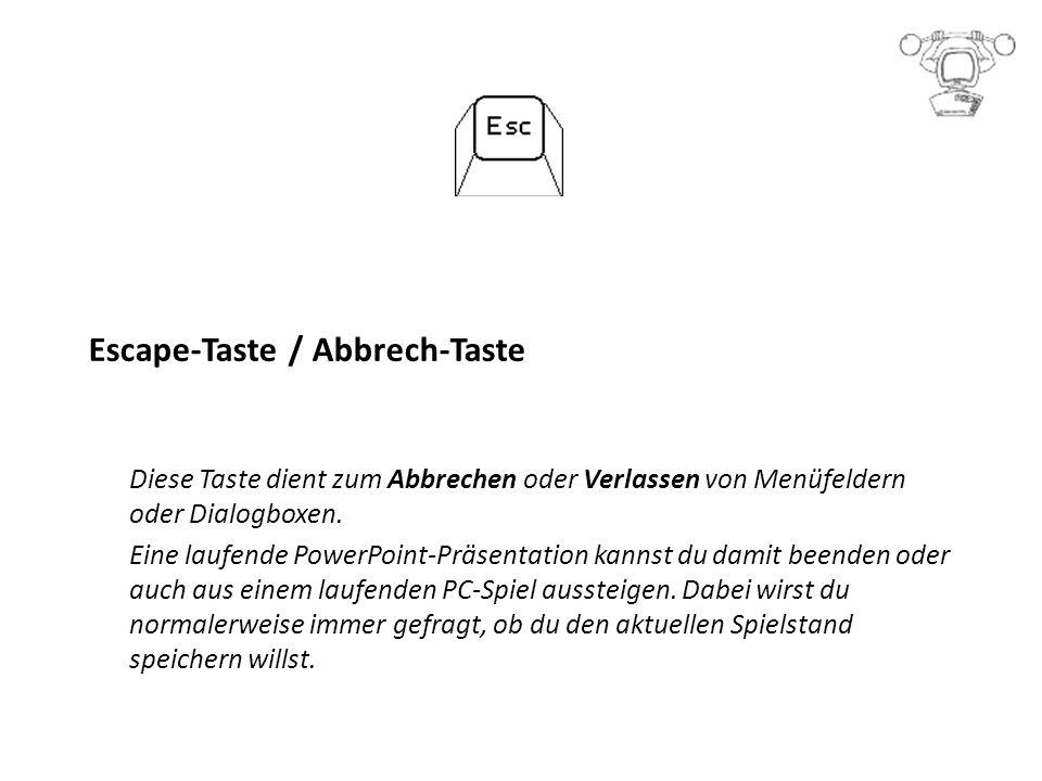 Escape-Taste / Abbrech-Taste Diese Taste dient zum Abbrechen oder Verlassen von Menüfeldern oder Dialogboxen.
