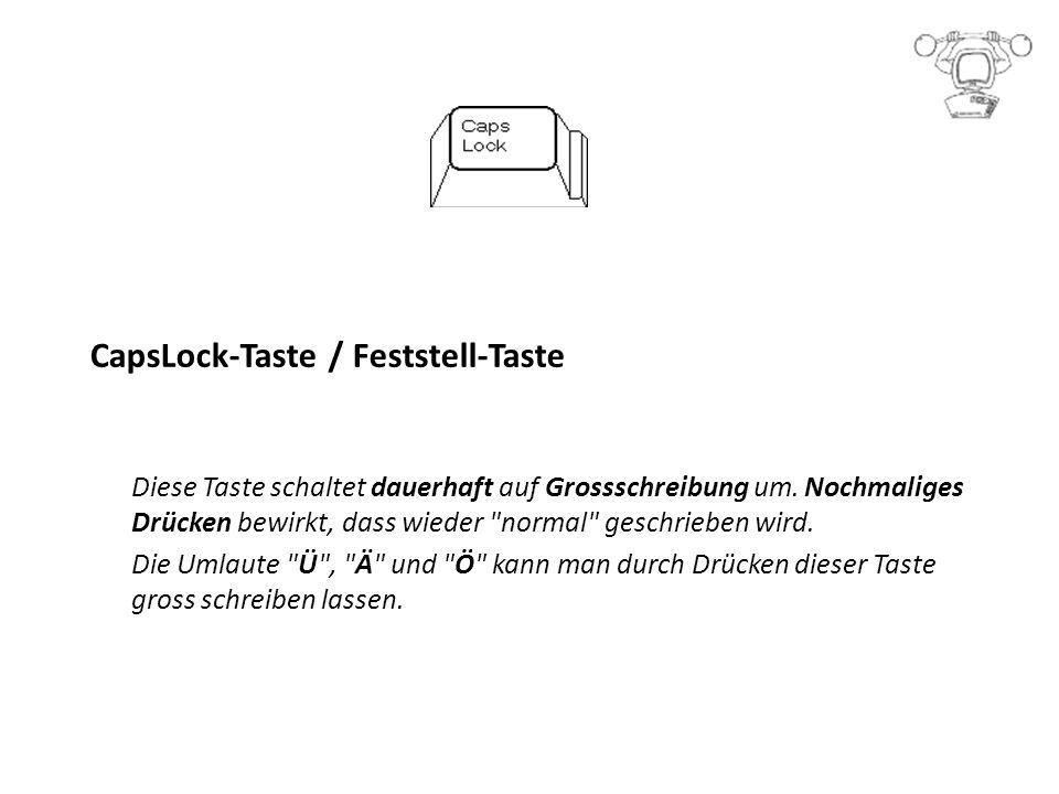 CapsLock-Taste / Feststell-Taste Diese Taste schaltet dauerhaft auf Grossschreibung um.
