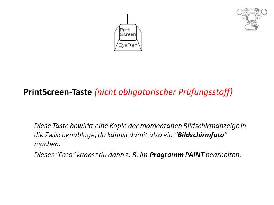PrintScreen-Taste (nicht obligatorischer Prüfungsstoff) Diese Taste bewirkt eine Kopie der momentanen Bildschirmanzeige in die Zwischenablage, du kannst damit also ein Bildschirmfoto machen.