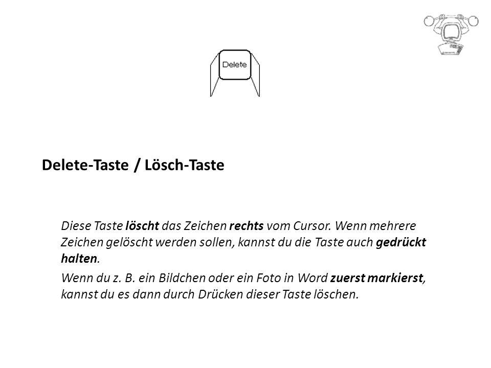 Delete-Taste / Lösch-Taste Diese Taste löscht das Zeichen rechts vom Cursor.