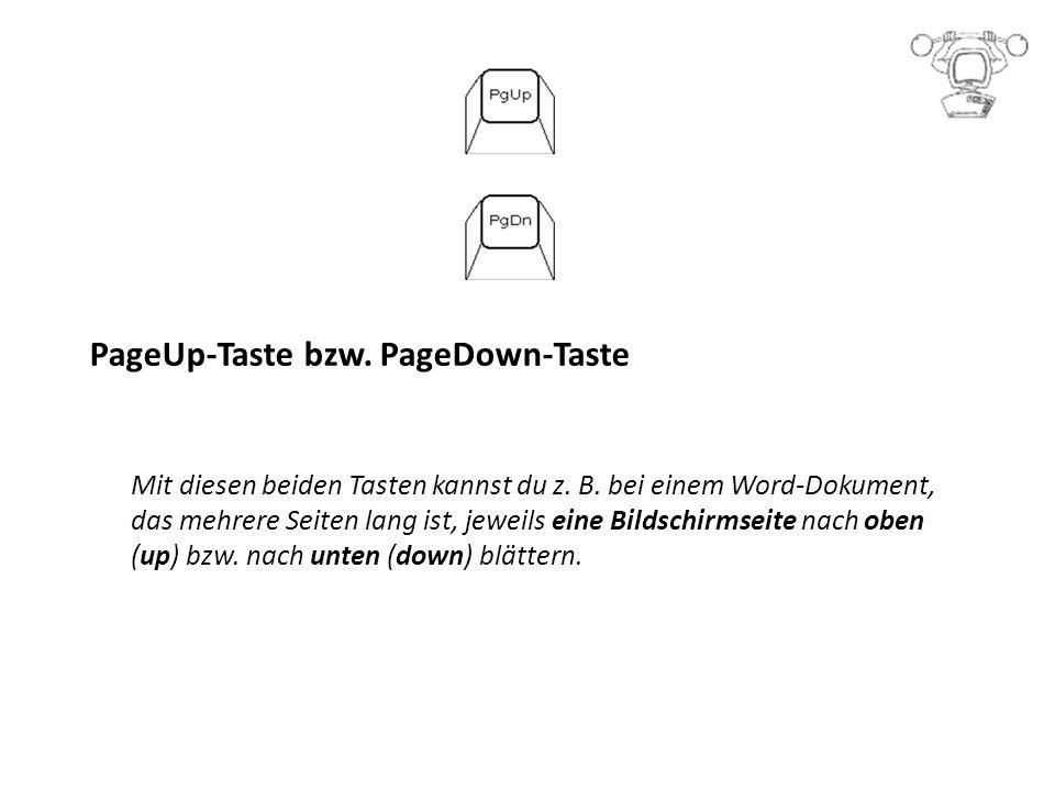 PageUp-Taste bzw.PageDown-Taste Mit diesen beiden Tasten kannst du z.