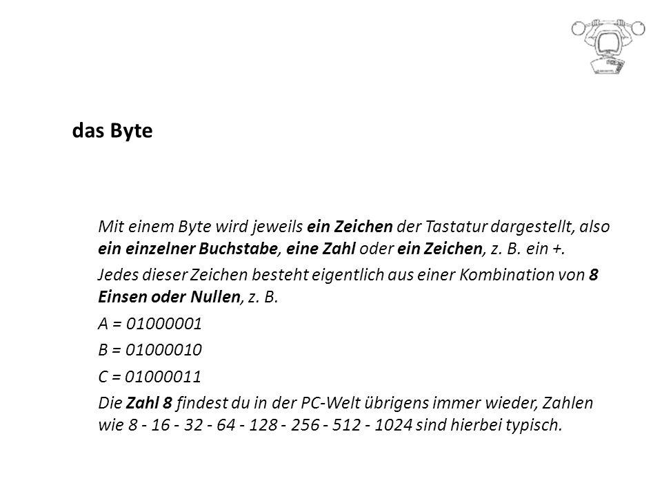 das Byte Mit einem Byte wird jeweils ein Zeichen der Tastatur dargestellt, also ein einzelner Buchstabe, eine Zahl oder ein Zeichen, z.
