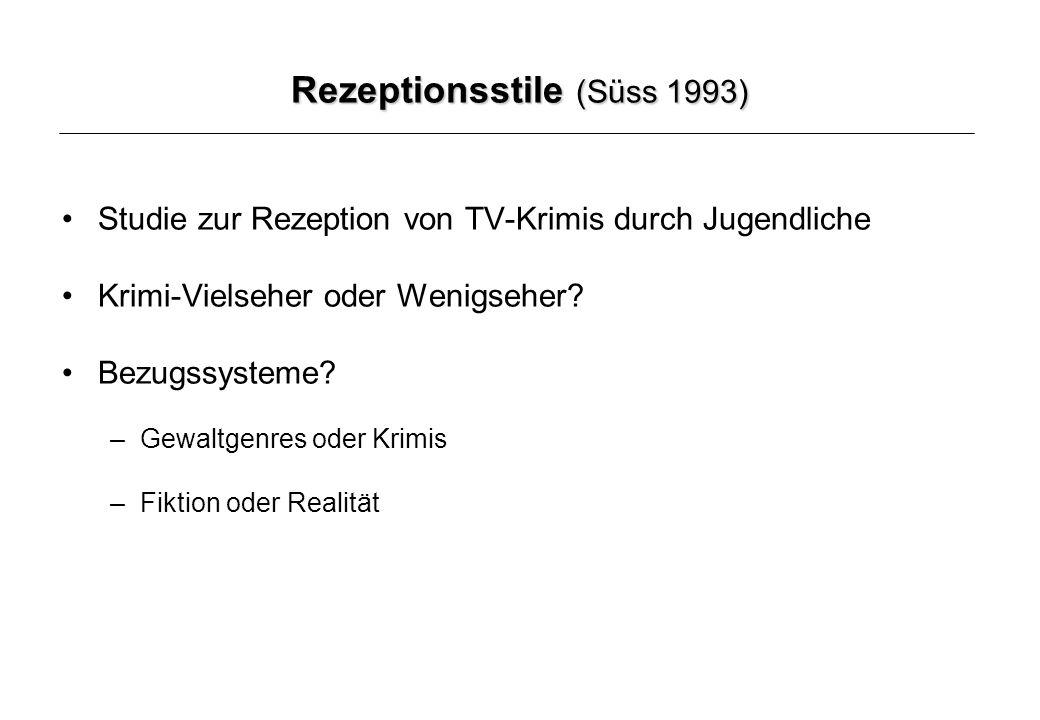 Rezeptionsstile (Süss 1993) Studie zur Rezeption von TV-Krimis durch Jugendliche Krimi-Vielseher oder Wenigseher.