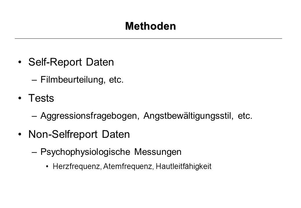 Methoden Self-Report Daten –Filmbeurteilung, etc.