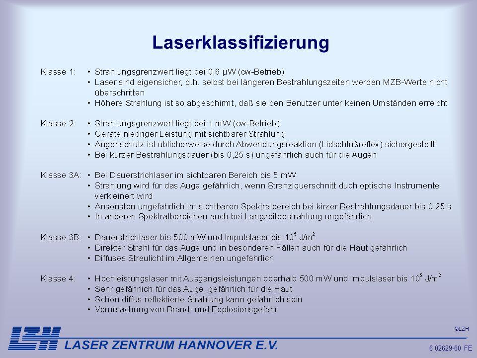 ©LZH 6 02629-60 FE Laserklassifizierung