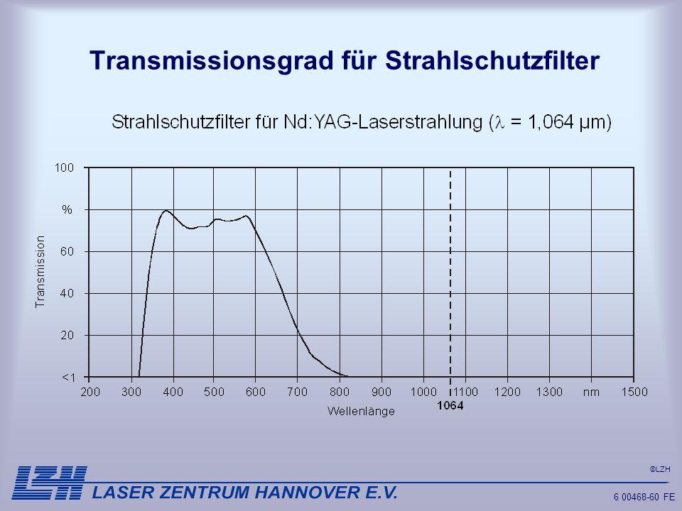 ©LZH 6 00468-60 FE Transmissionsgrad für Strahlschutzfilter