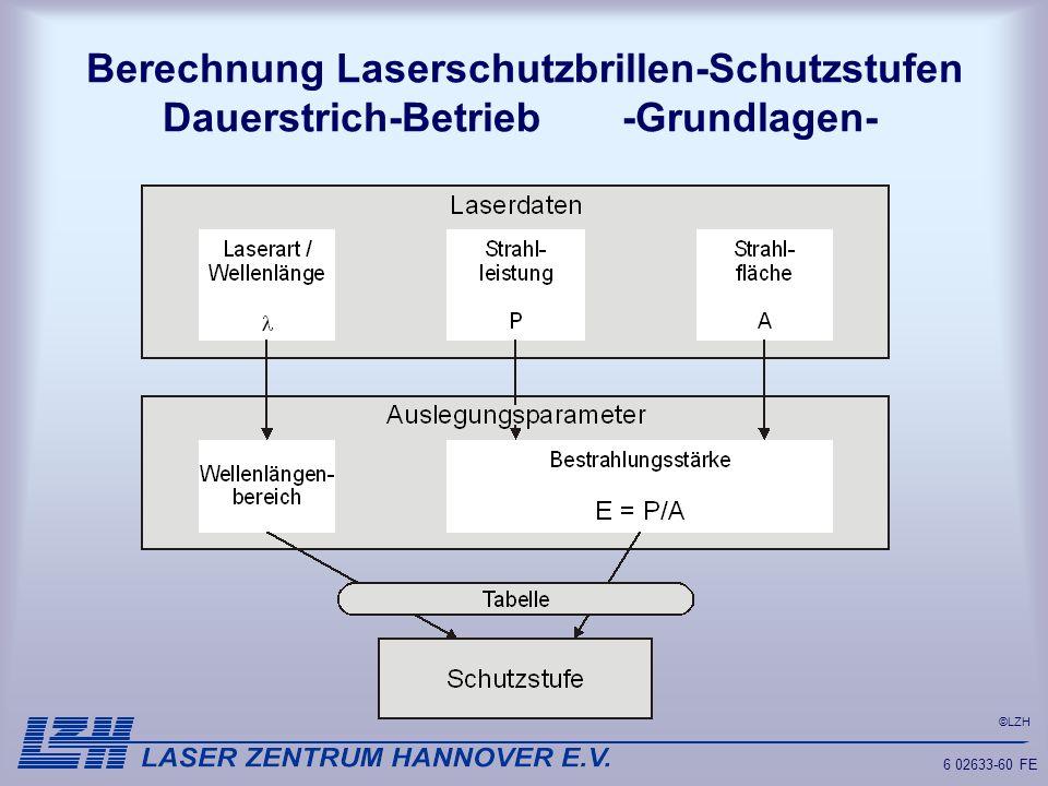 ©LZH 6 02633-60 FE Berechnung Laserschutzbrillen-Schutzstufen Dauerstrich-Betrieb -Grundlagen-