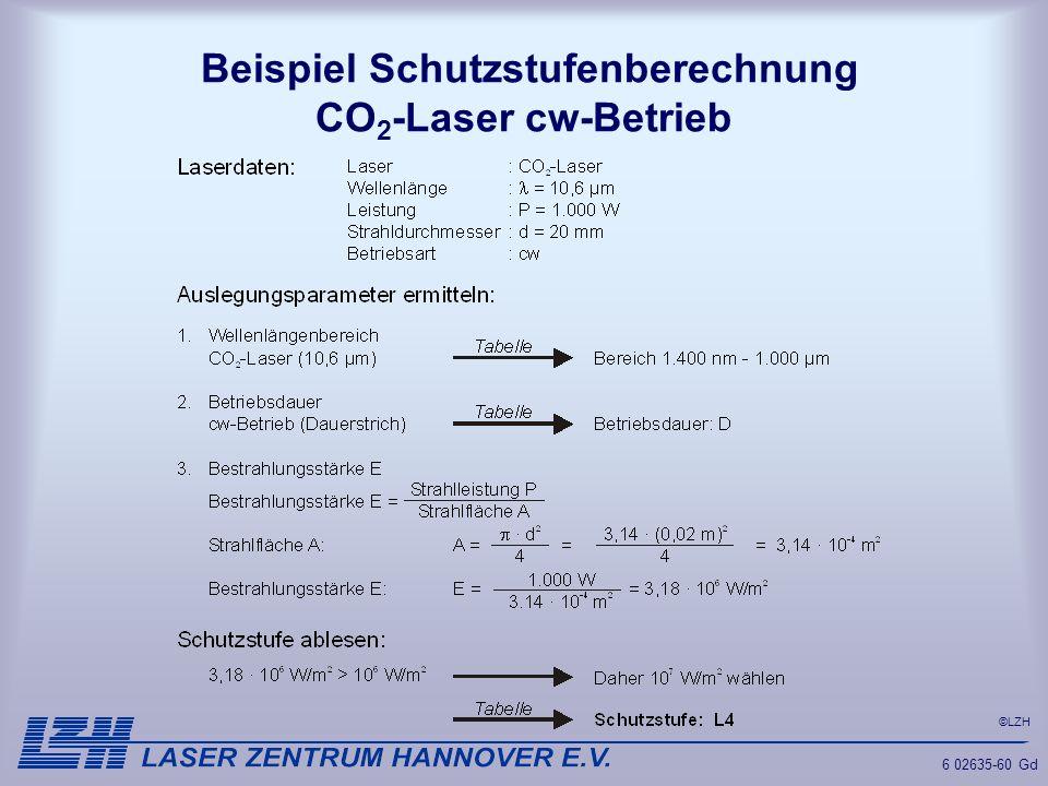 ©LZH 6 02635-60 Gd Beispiel Schutzstufenberechnung CO 2 -Laser cw-Betrieb