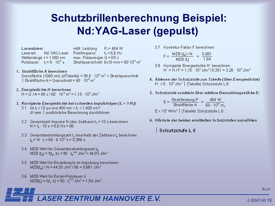©LZH 6 02667-60 FE Schutzbrillenberechnung Beispiel: Nd:YAG-Laser (gepulst)