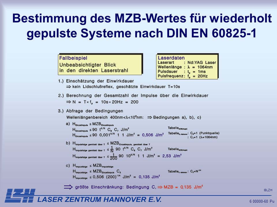 ©LZH 6 00000-60 Pu Bestimmung des MZB-Wertes für wiederholt gepulste Systeme nach DIN EN 60825-1