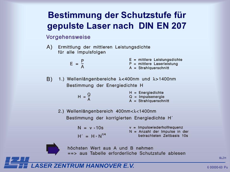 ©LZH 6 00000-60 Pu Bestimmung der Schutzstufe für gepulste Laser nach DIN EN 207